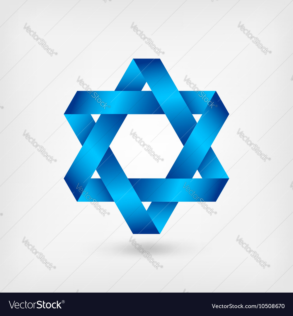 Blue sixpointed star symbol vector