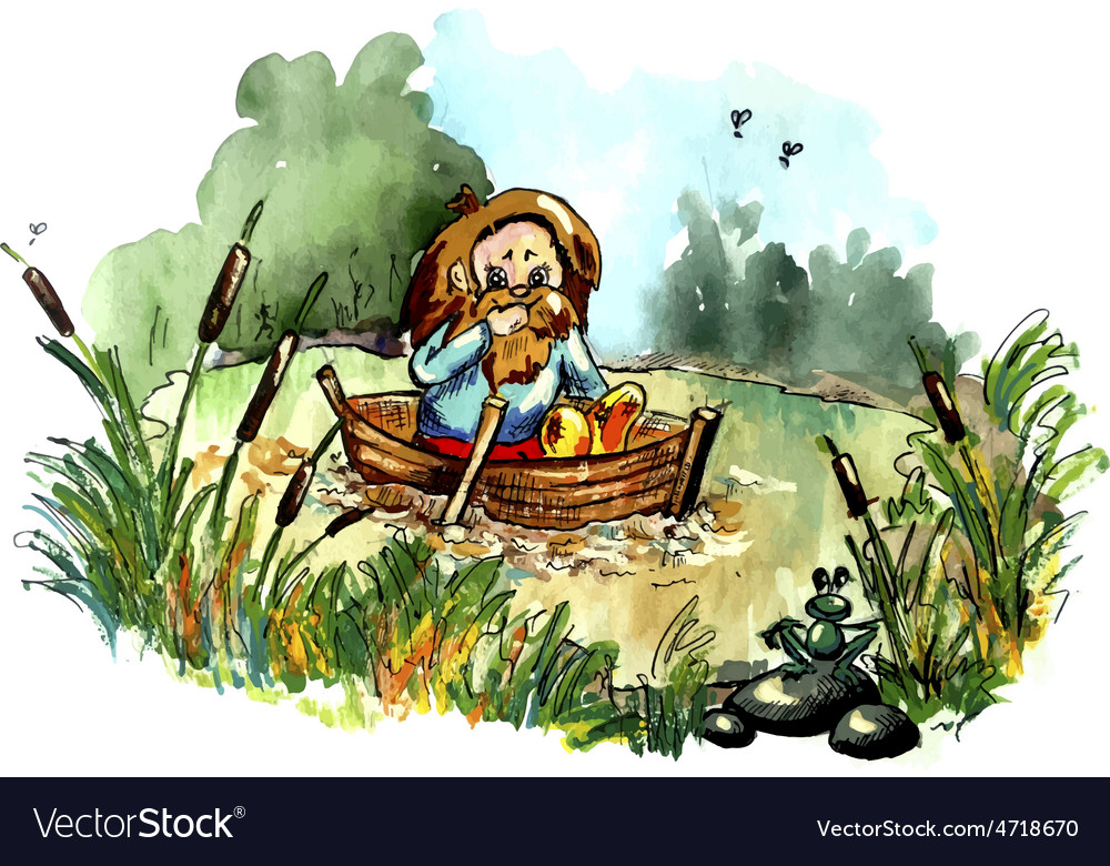 Hobbit on the boat vector