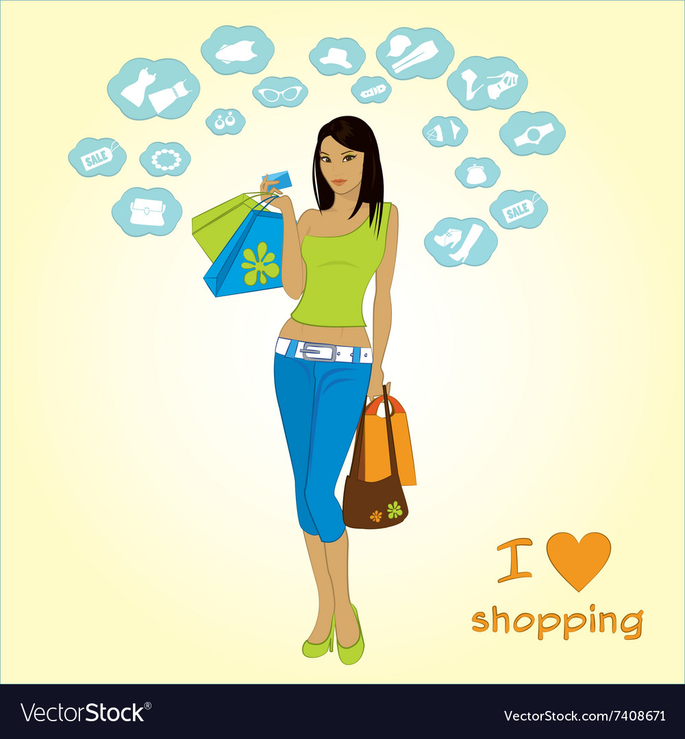 Shopping girl and icons vector
