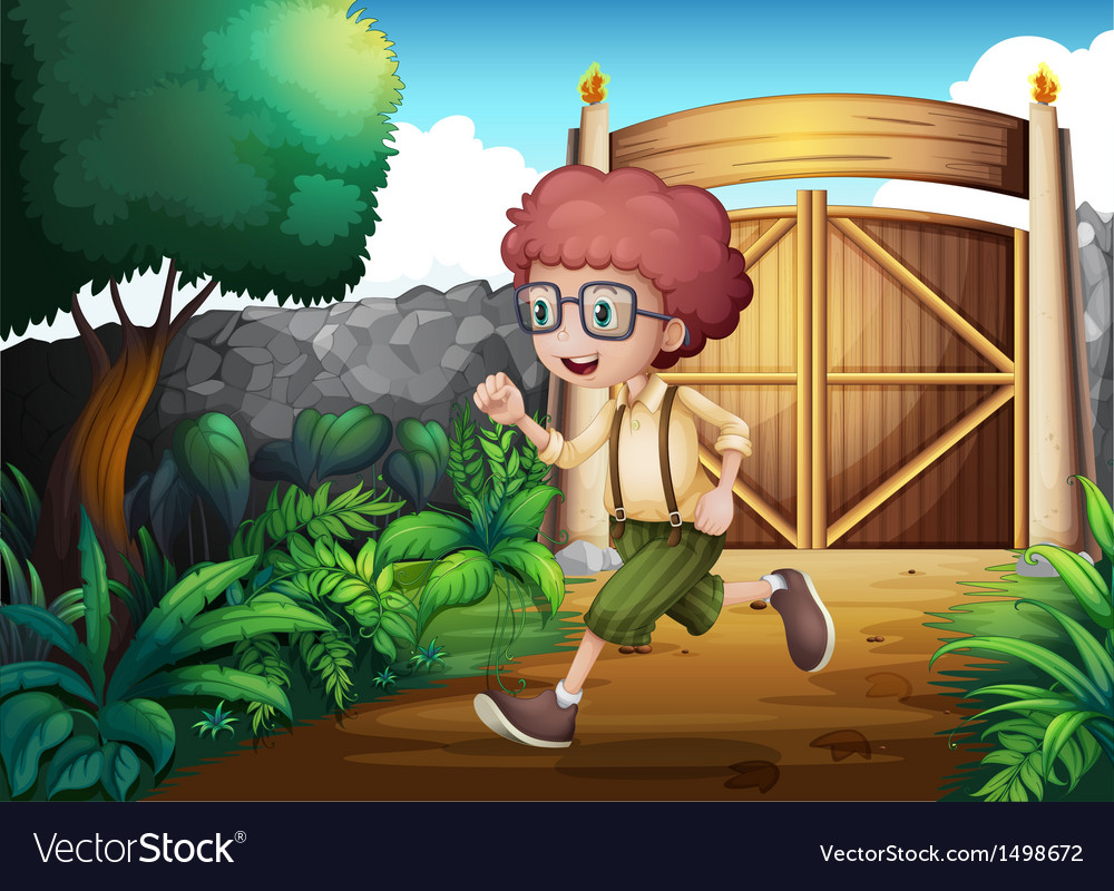 A young boy running inside the gate vector