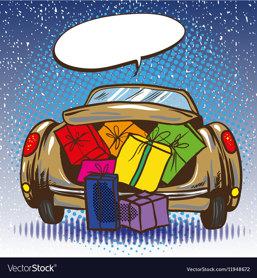 Car trunk with gifts pop vector