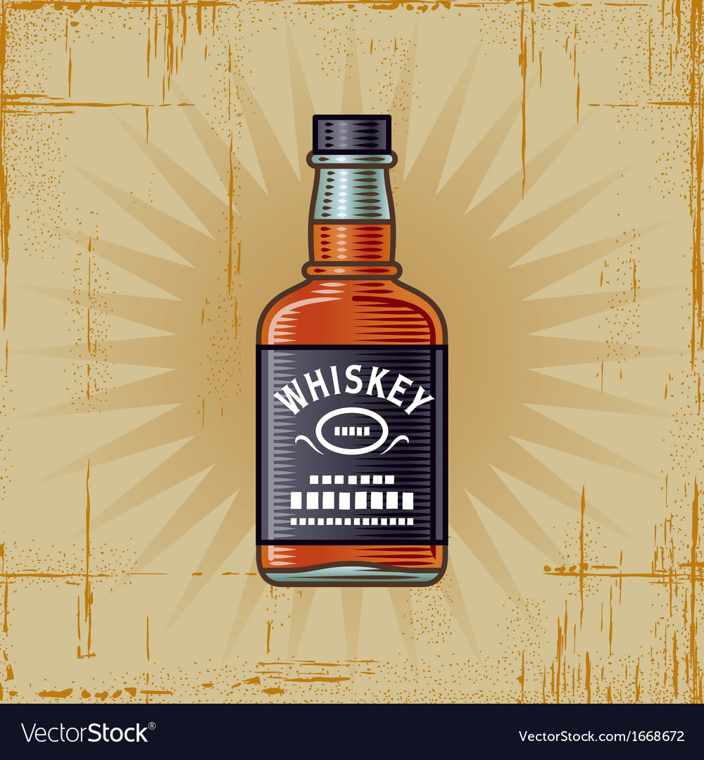Retro whiskey bottle vector