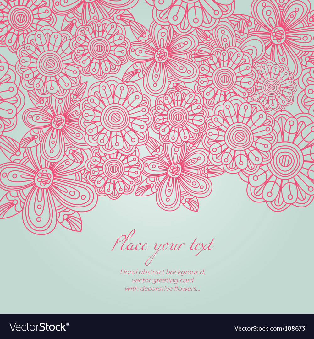 Floral background greeting card vector