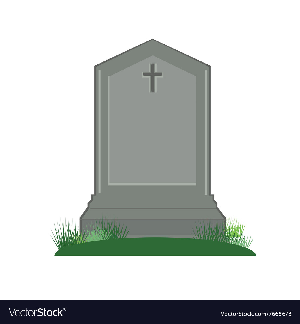 Grey gravestone with cross vector