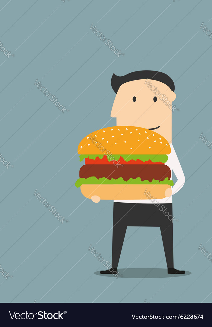 Businessman carrying a big hamburger vector