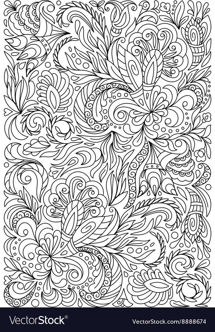 Coloring page with vintage flowers pattern vector