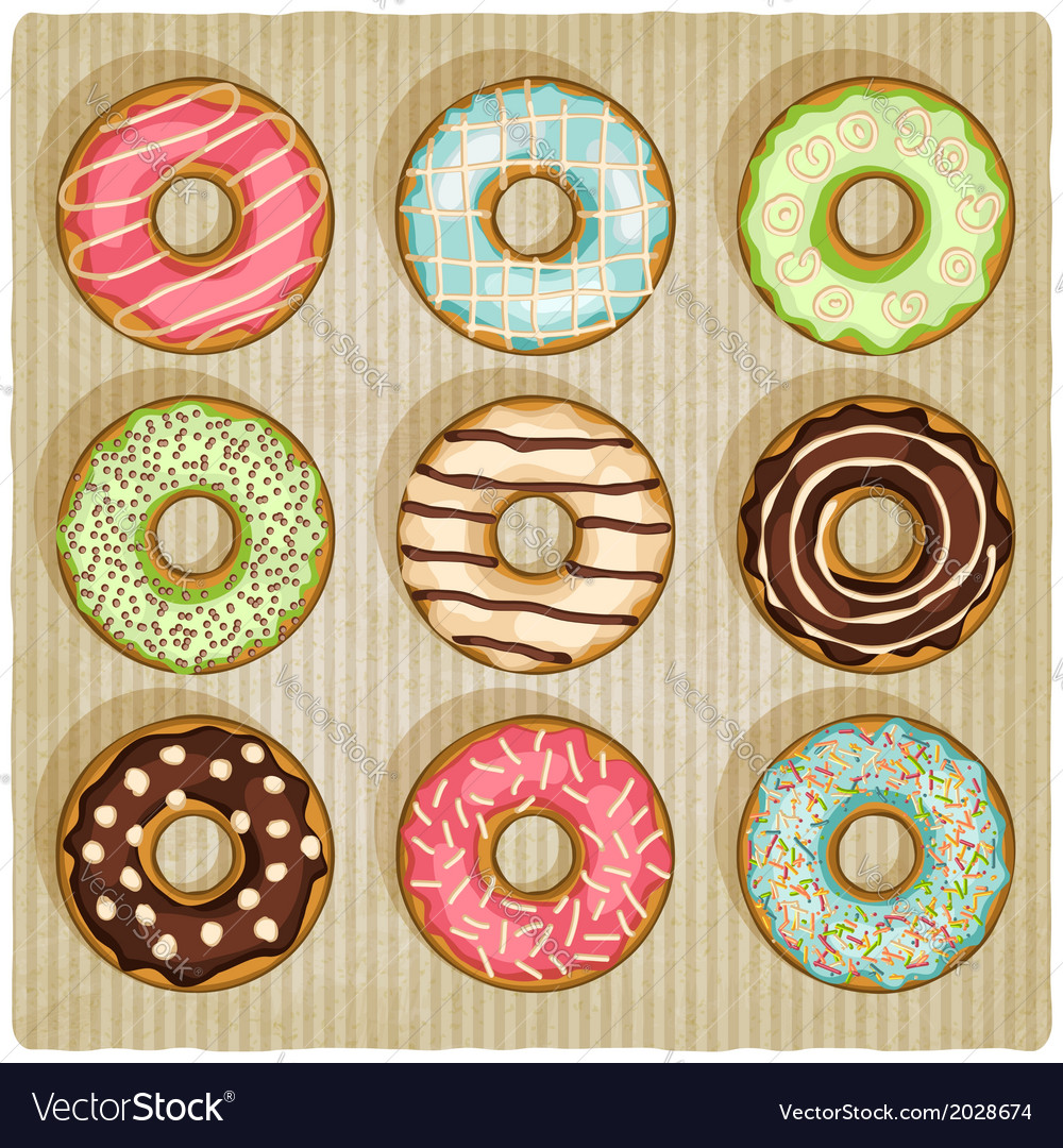 Donuts retro striped background vector