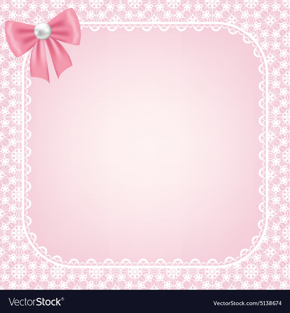 Lace frame on pink background vector