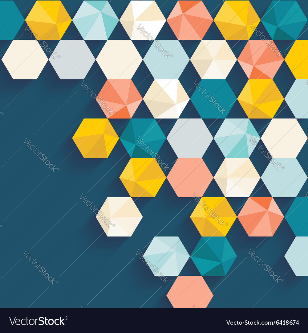 Retro cells pattern abstract geometric background vector