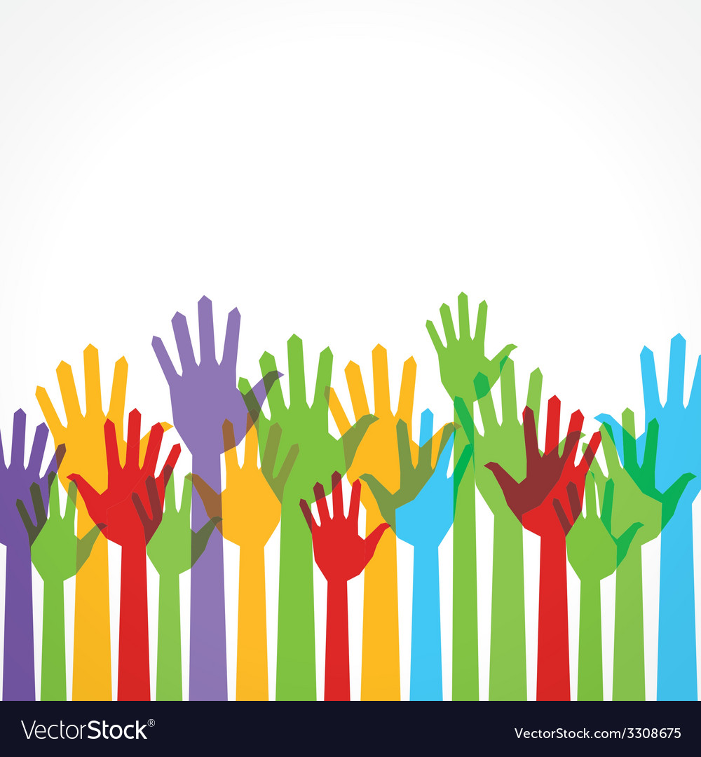 Colorful hand up to support stock vector