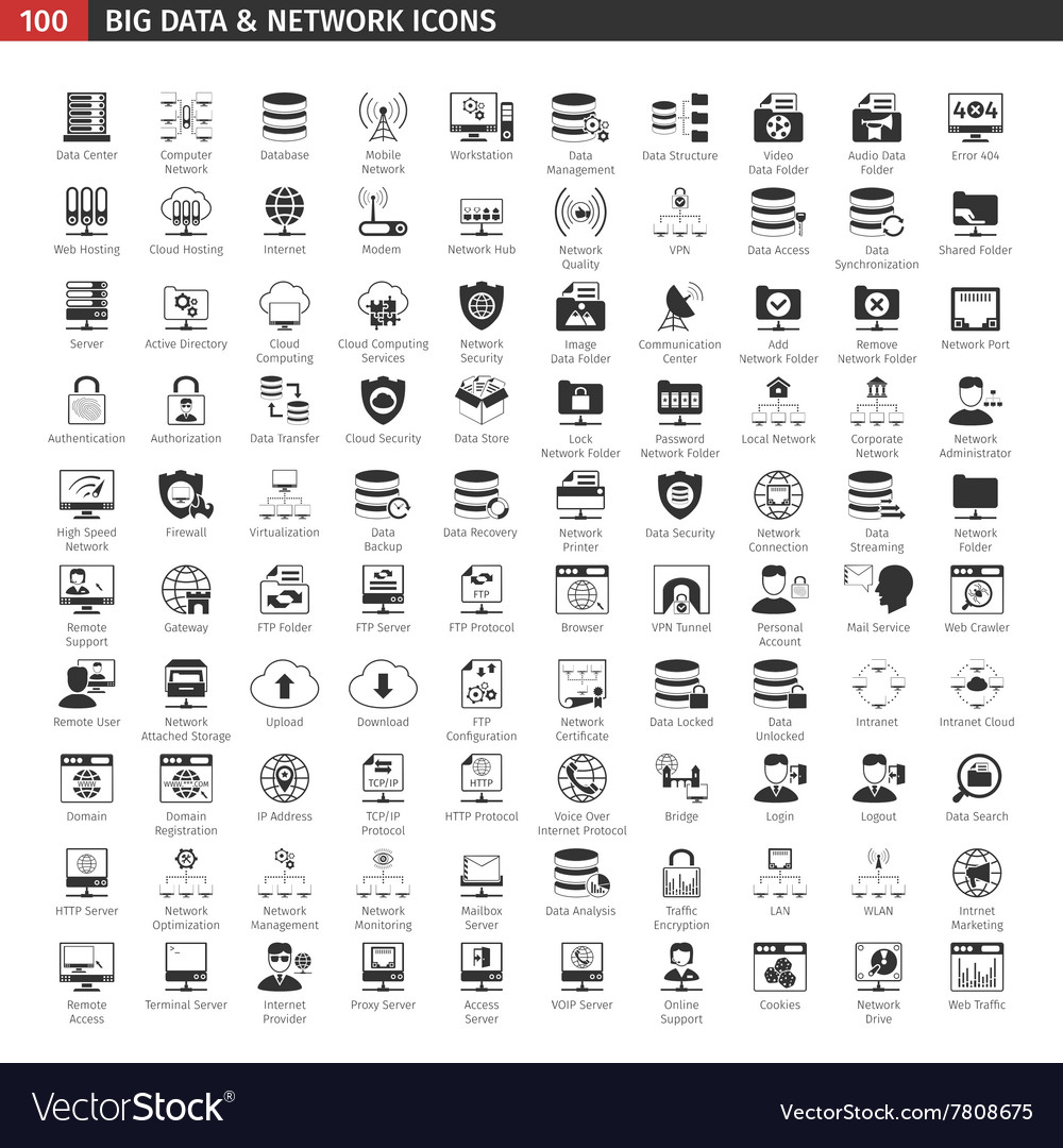 Network and database black icons set vector