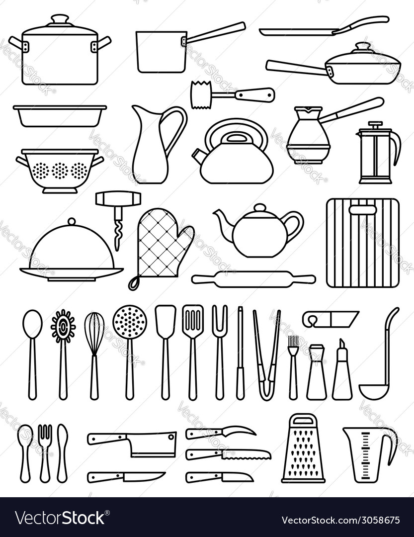 Set of silhouette kitchen utensils and collection vector