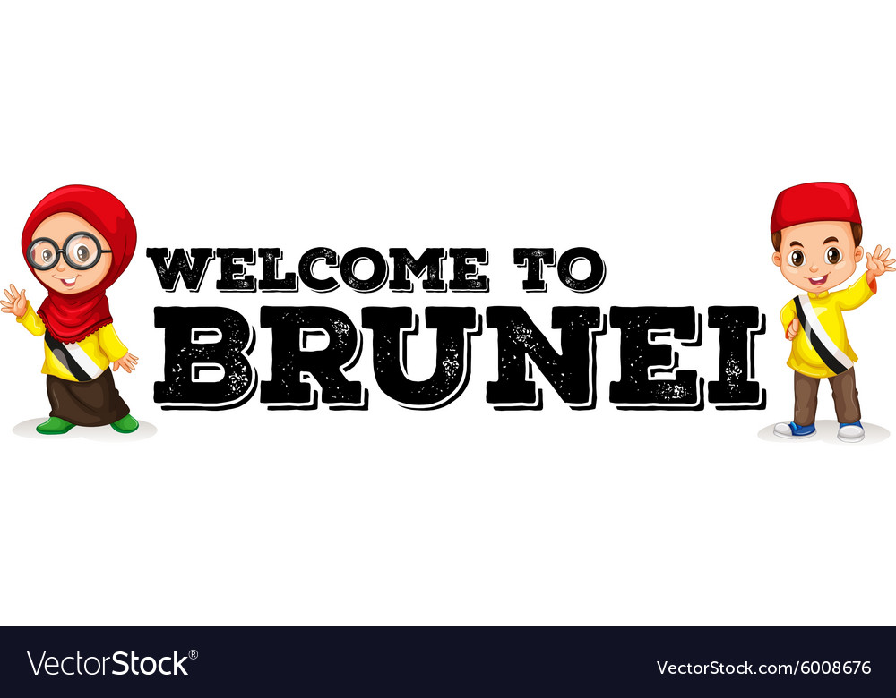 Boy and girl from brunei greeting vector