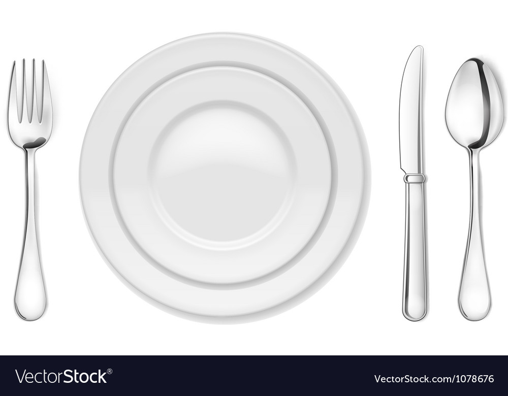 Dinner plate knife fork and spoon vector