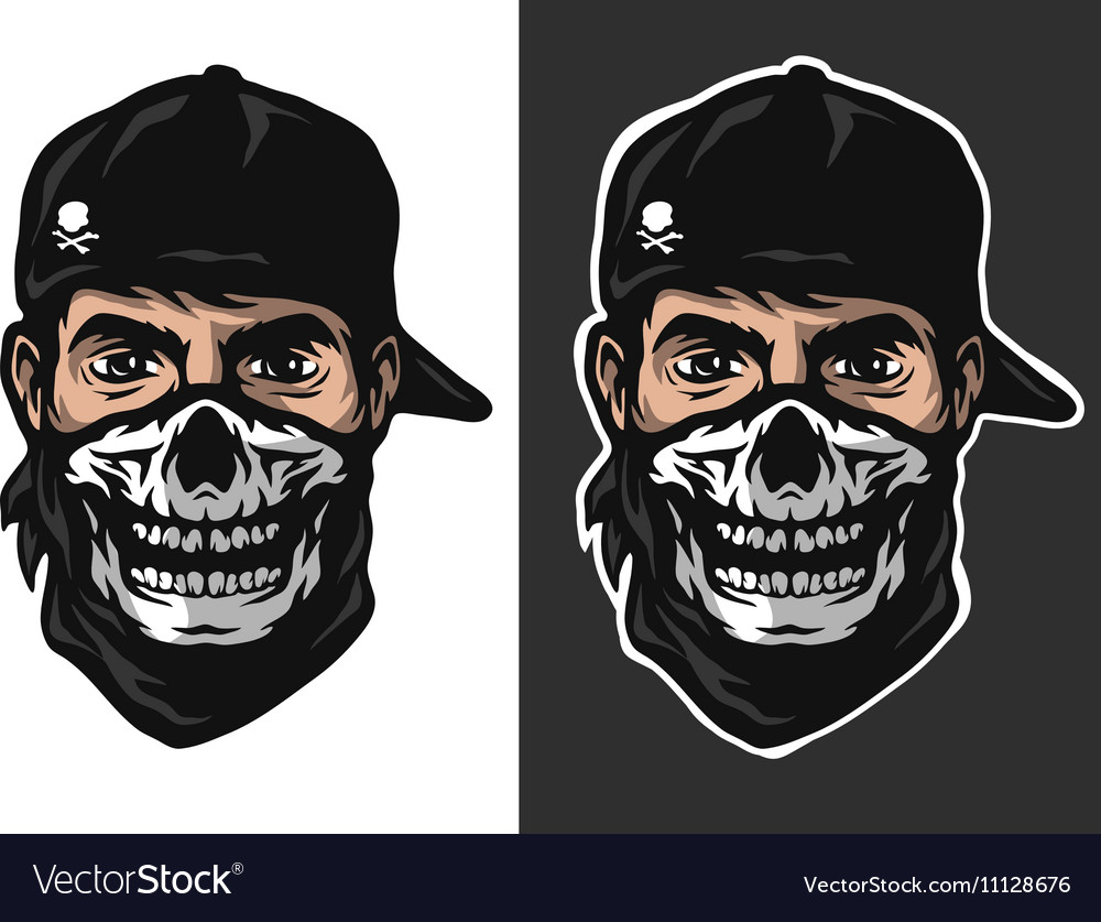 Guy in the bandana with a skull pattern vector