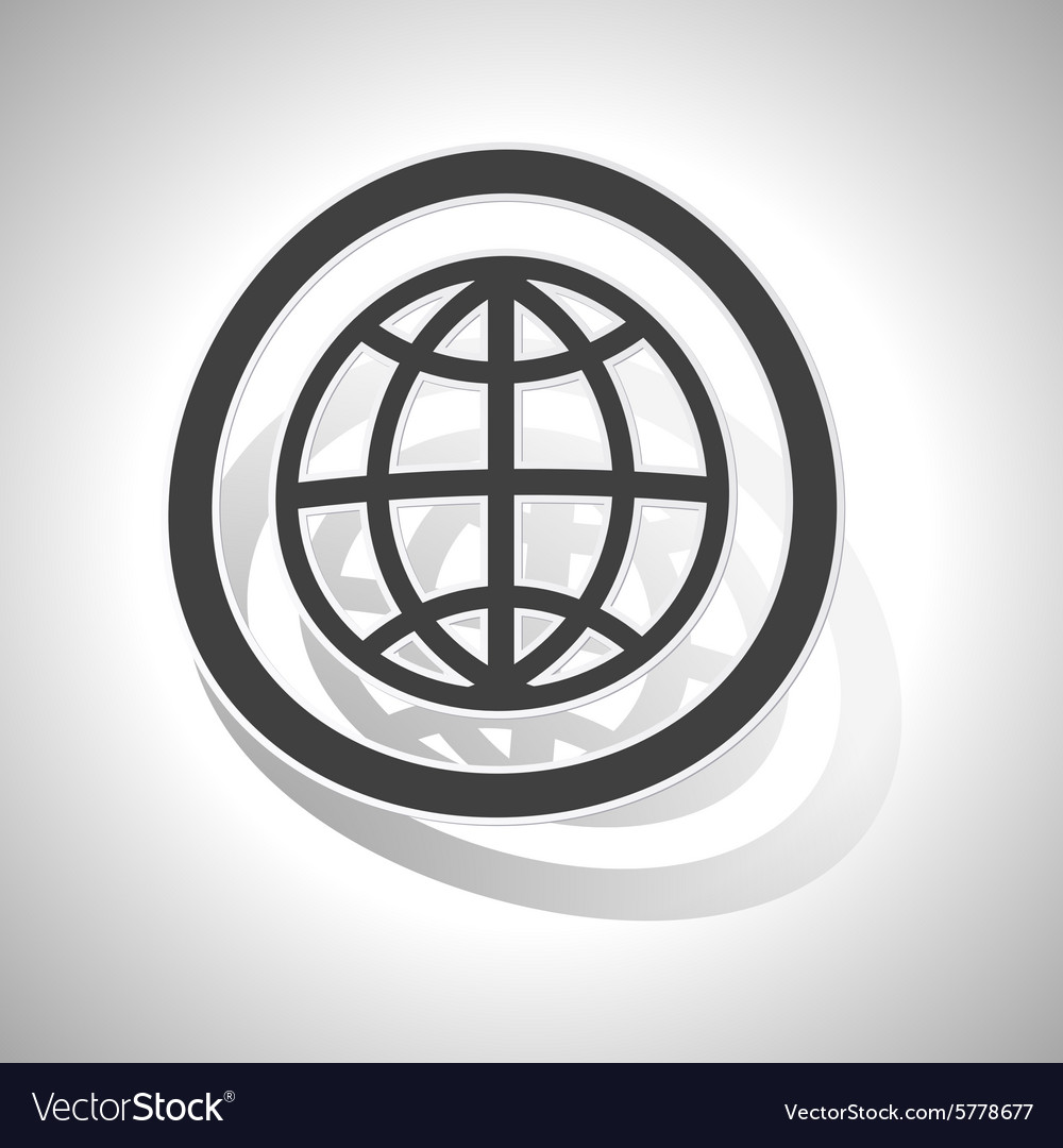 Globe sign sticker curved vector