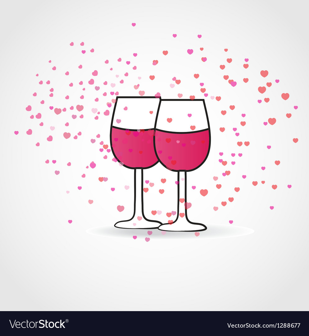 Love drink with two wine glasses and hearts vector