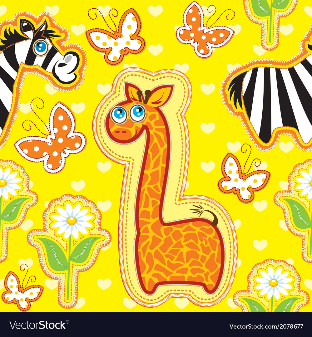 Seamless pattern with animals  giraffe and zebra vector