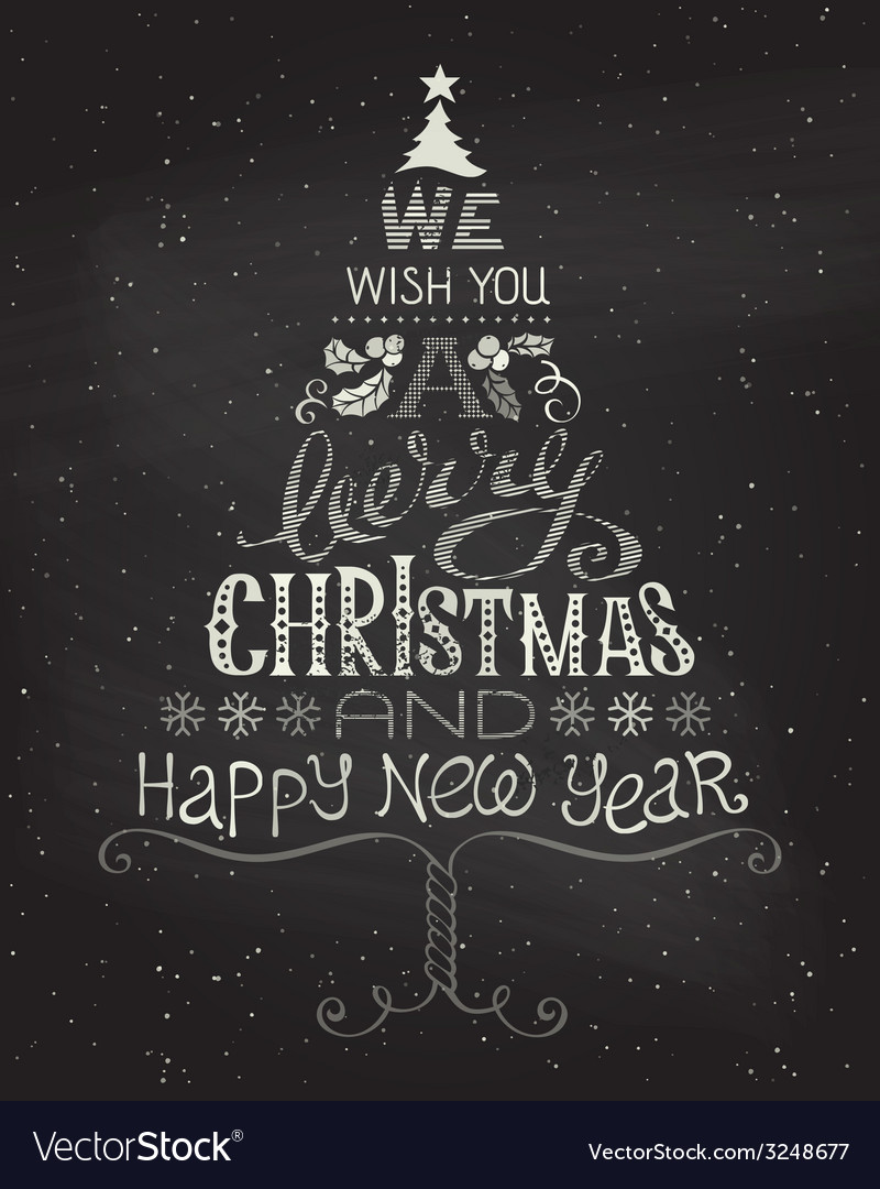 Vintage christmas background with handwritten vector