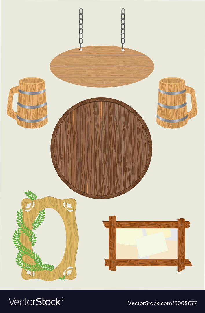 Wooden subjects vector