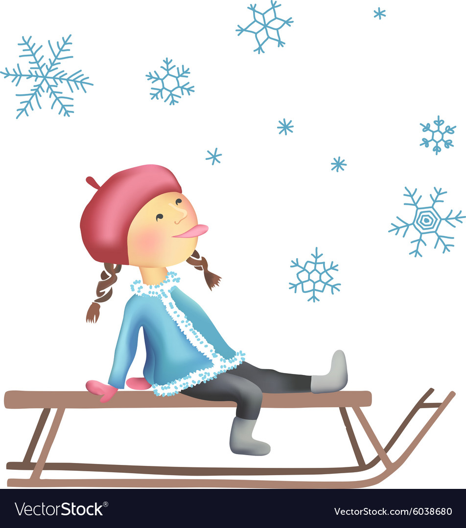 Little girl on the sled vector