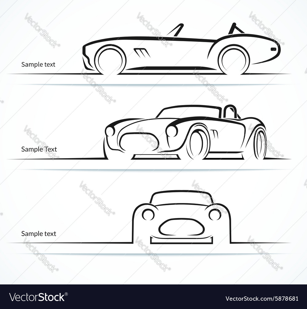 Set of vintage classic sports car silhouettes vector