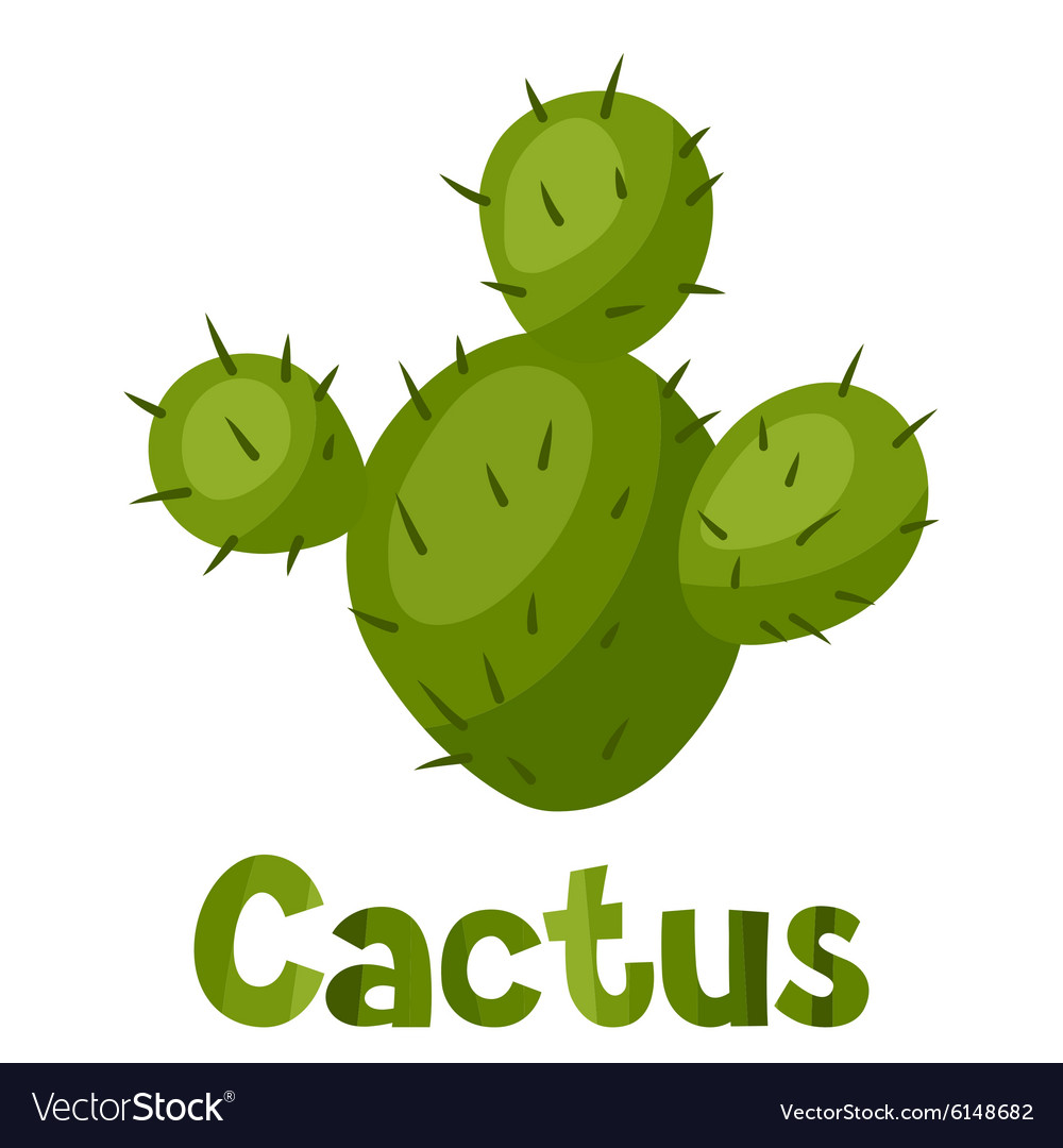 Abstract stylized cactus and text background vector