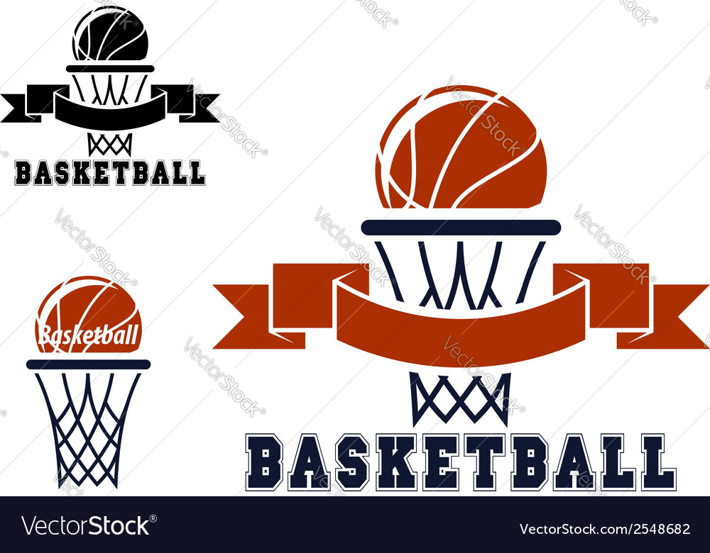 Basketball emblems and symbols vector