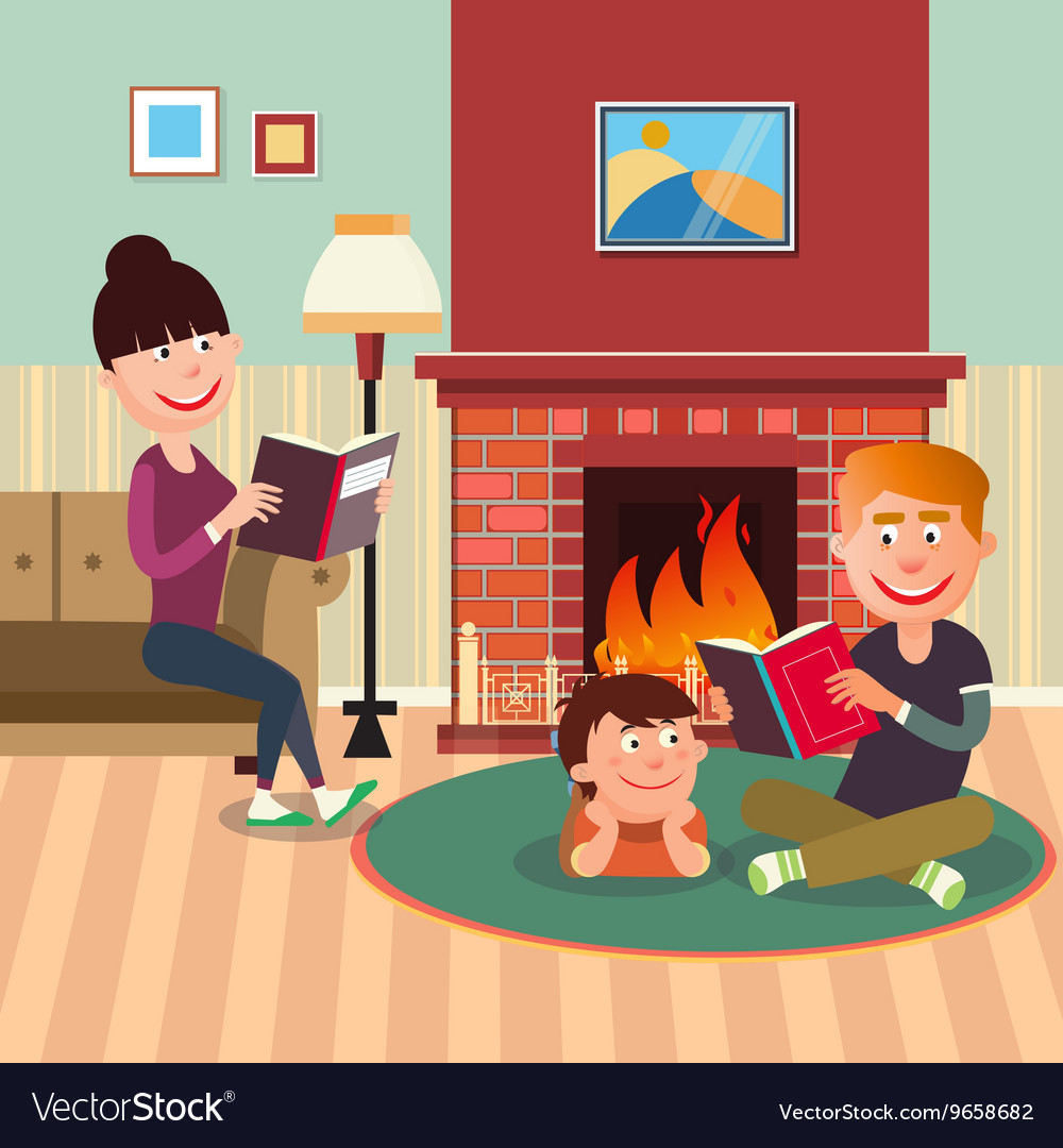 Father reading book to his son near fireplace vector