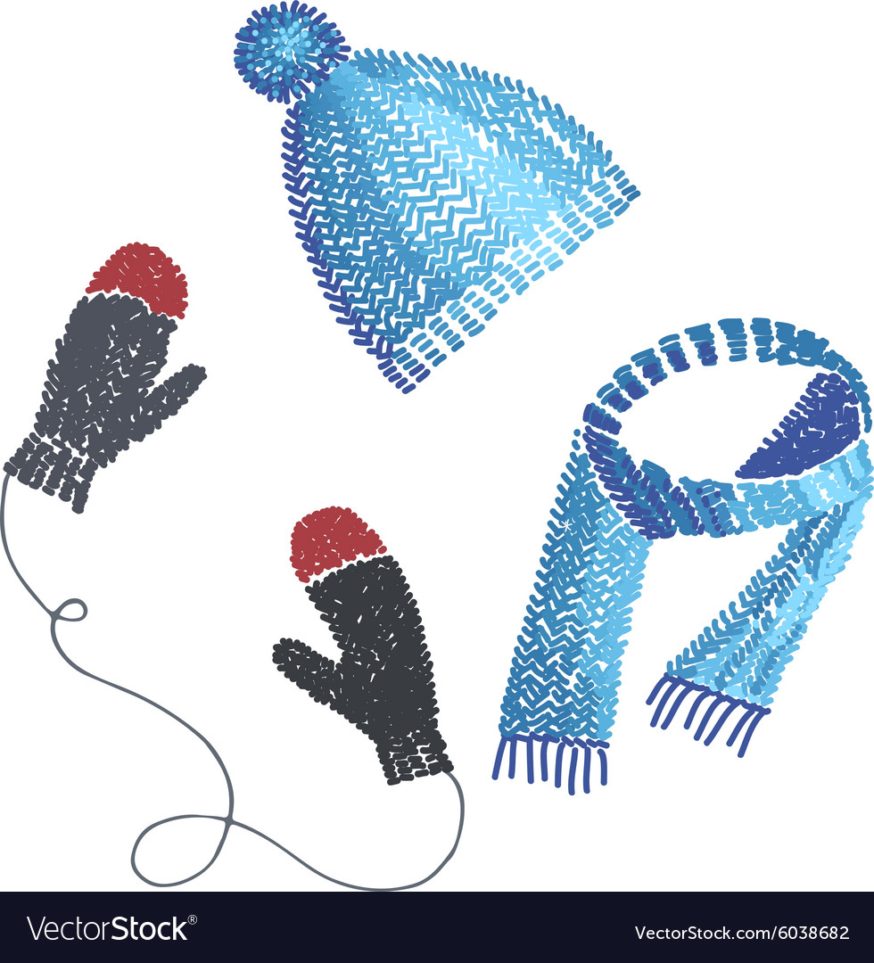 Knitted hat scarf and mittens vector