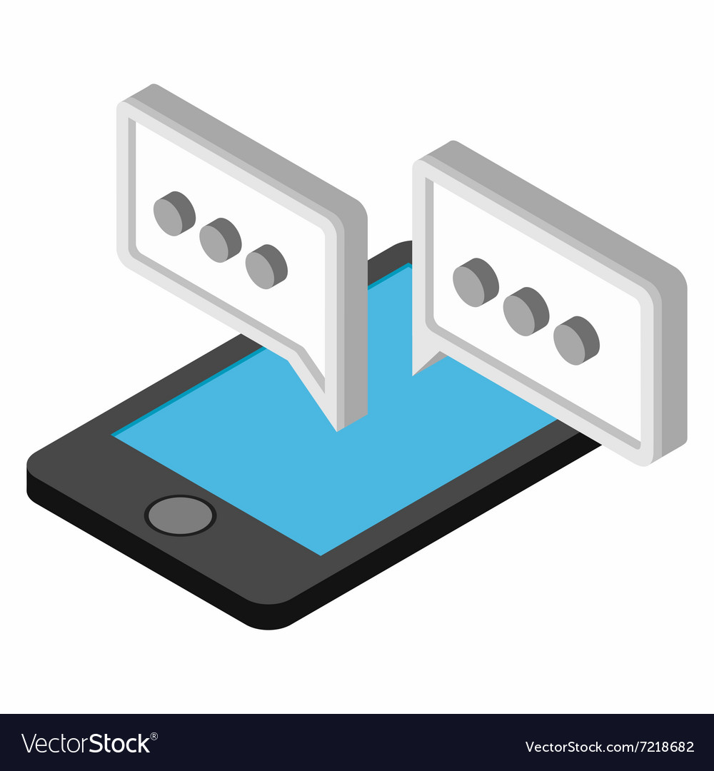 Mobile chatting isometric 3d icon vector