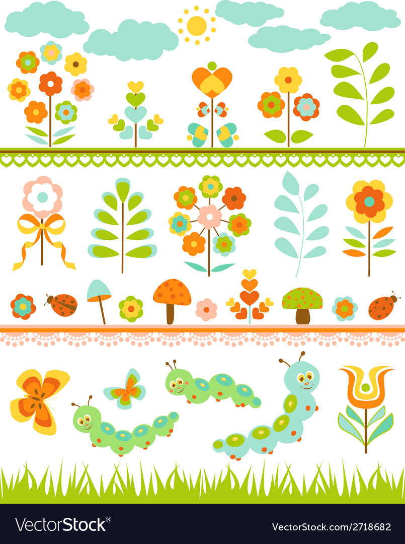 Set of floral border vector
