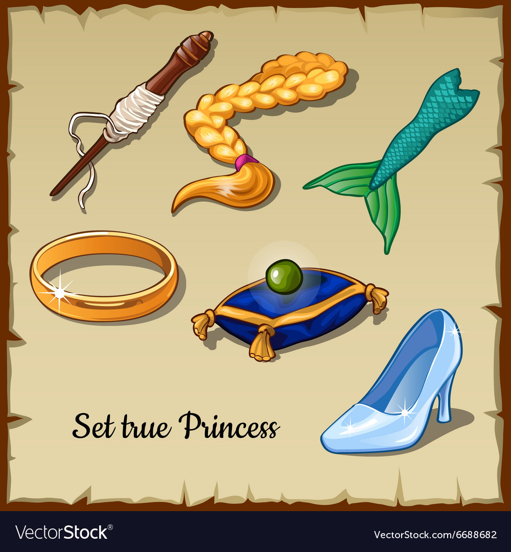 Set of six specific items for a true princess vector