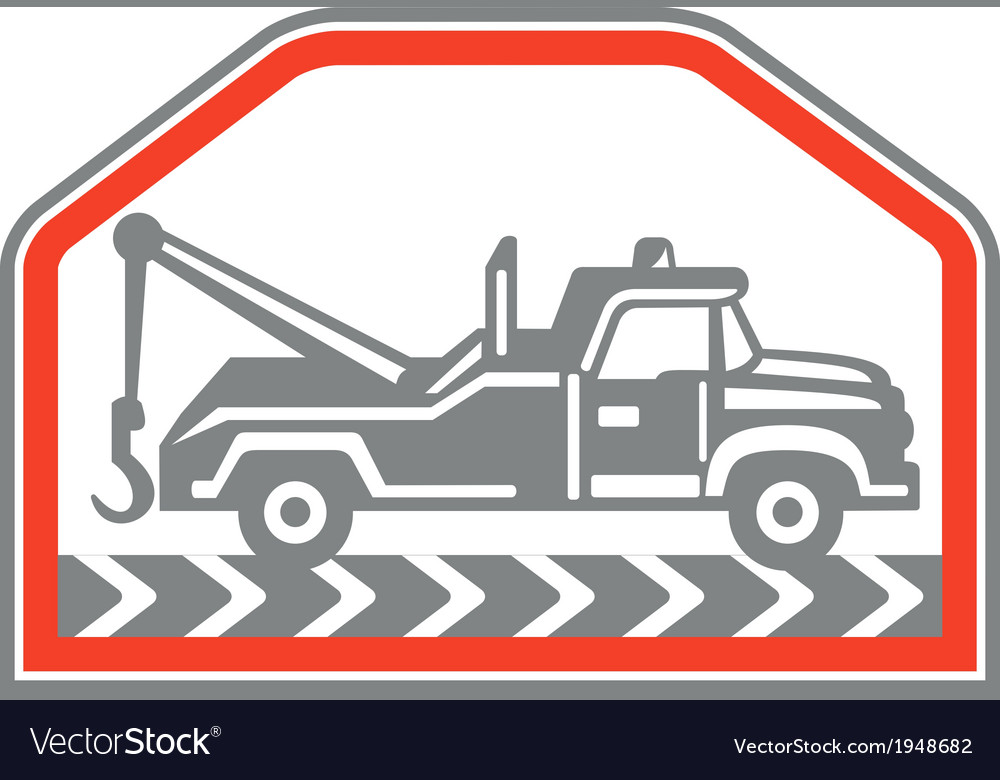 Tow wrecker truck side retro vector