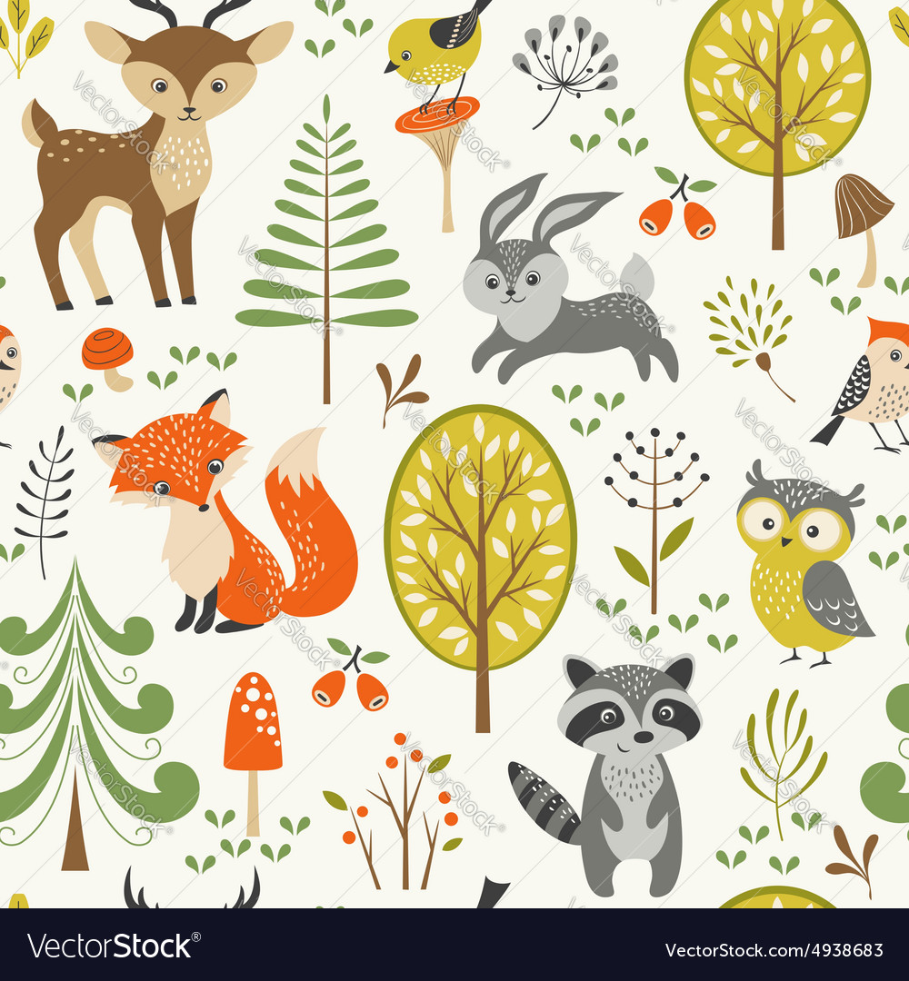 Cute forest pattern vector
