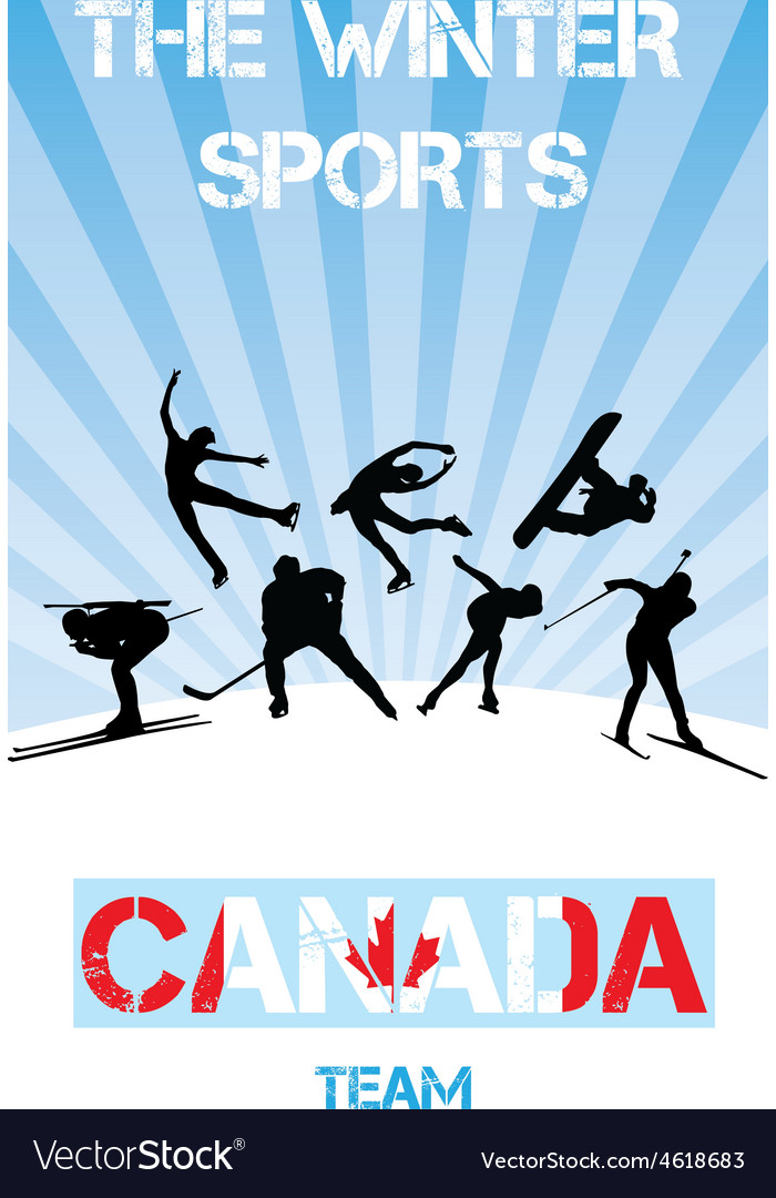 Winter sports canada team vector