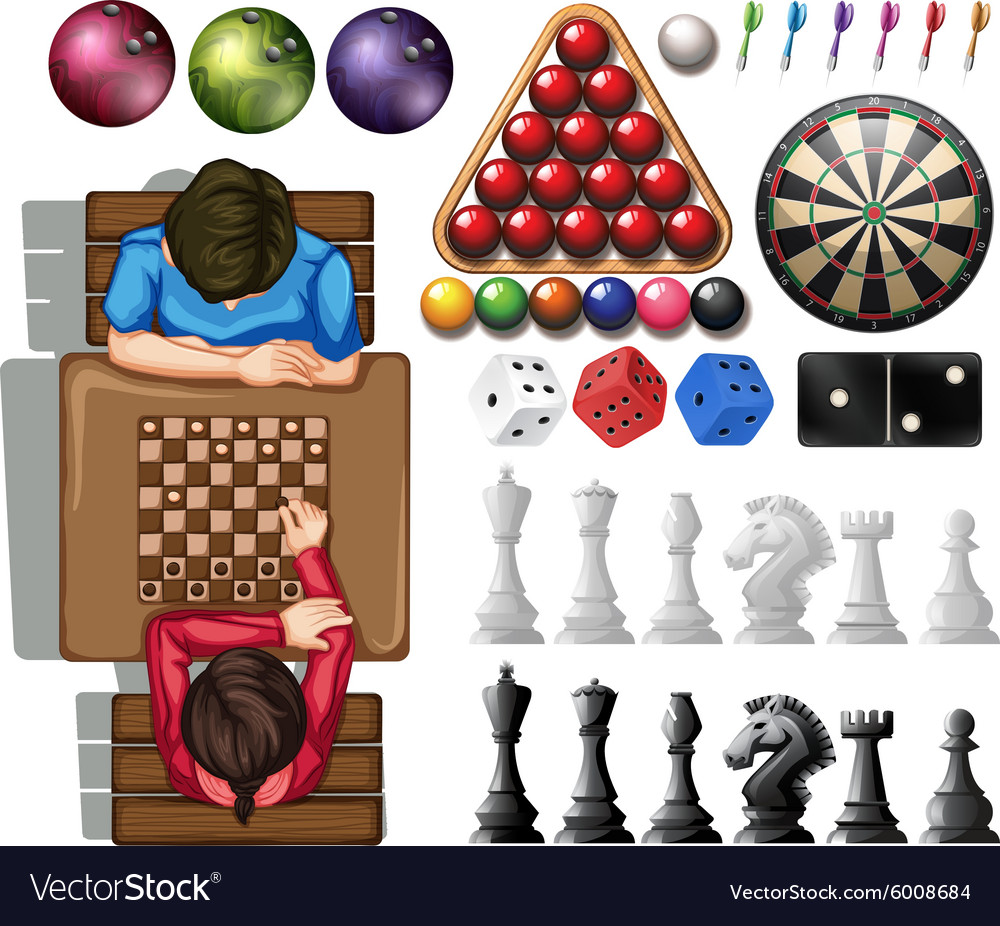 Gam set with people playing chess vector