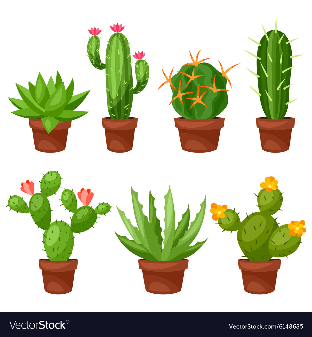 Collection of abstract cactuses in flower pot vector