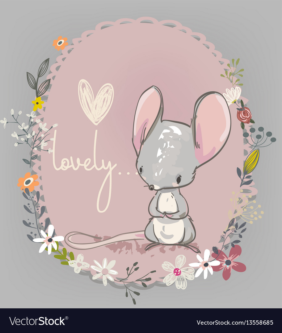 Cute little mouse with flowers vector