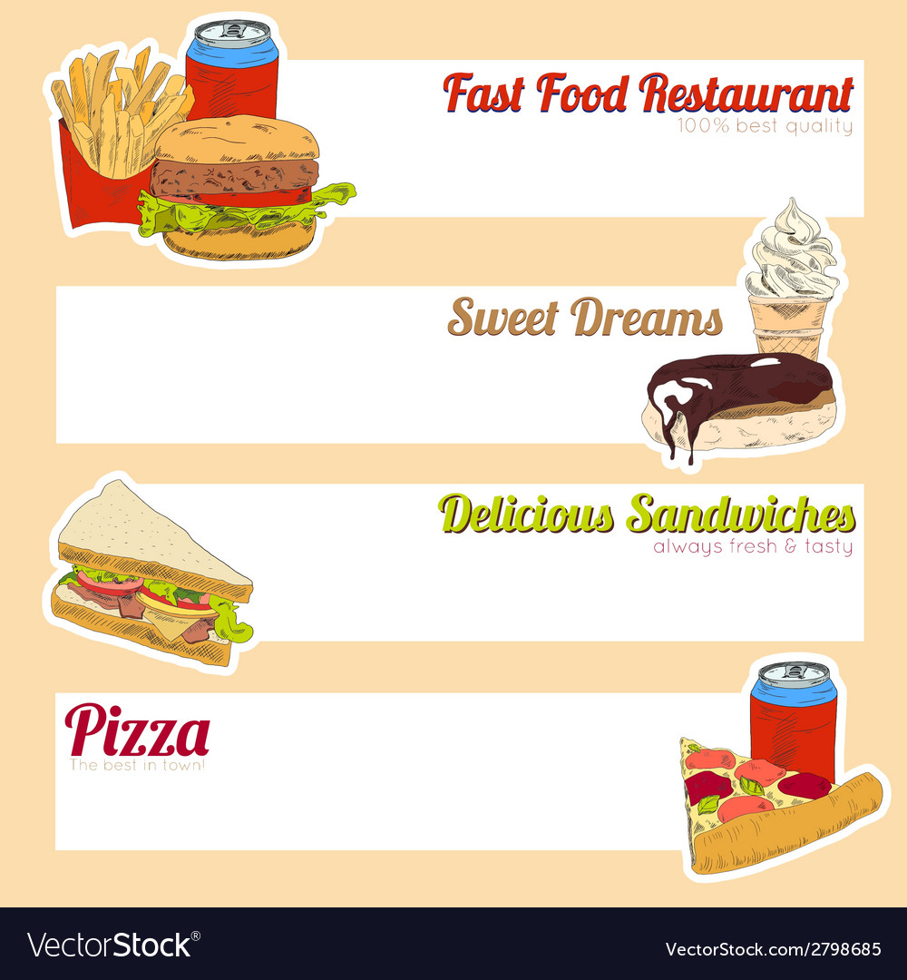 Fast food menu banner vector