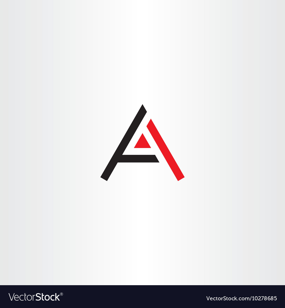 Symbol a letter icon black red logo vector