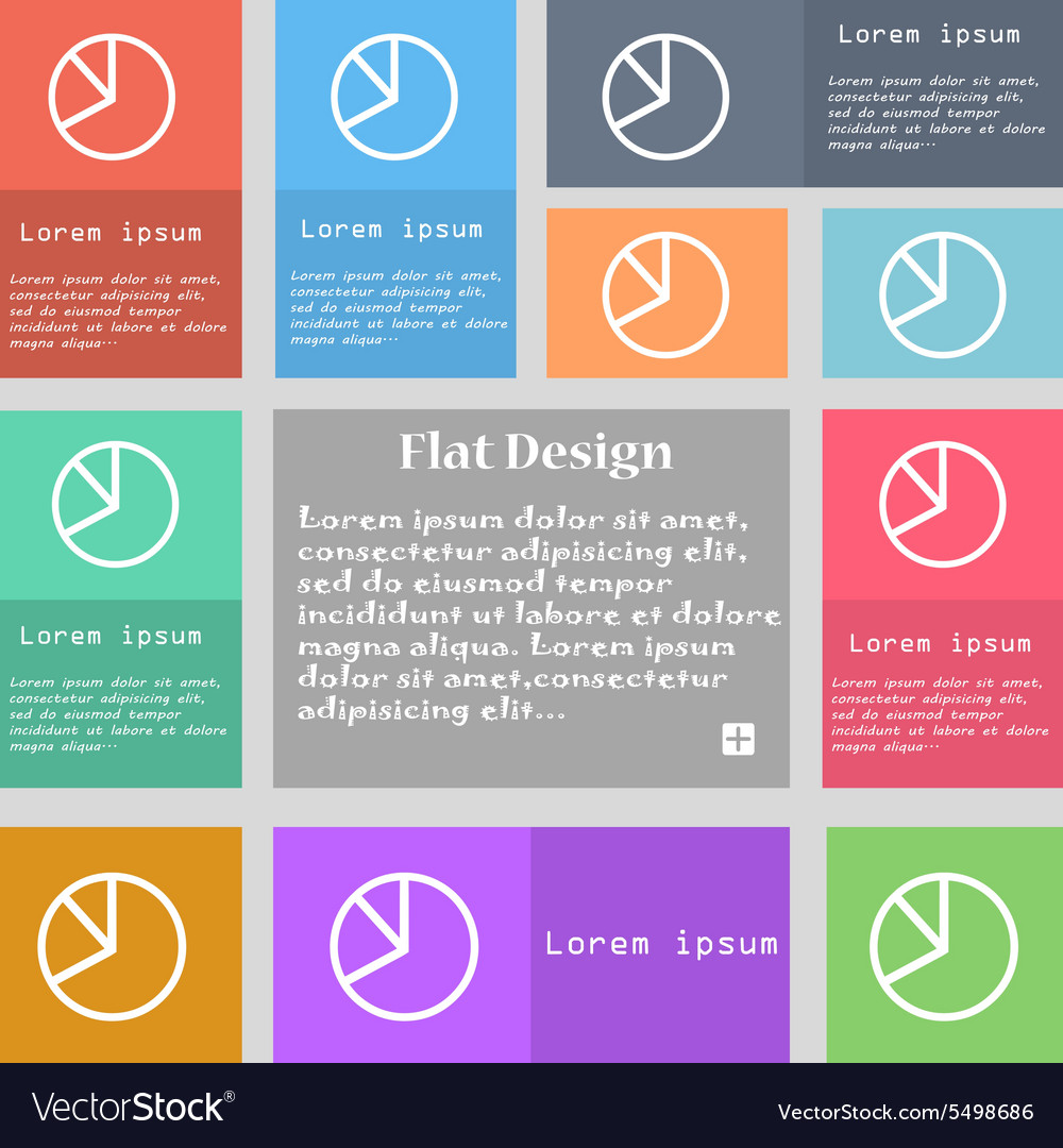 Pie chart graph icon sign set of multicolored vector