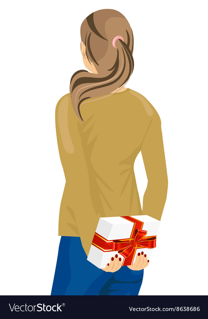 Young woman hiding a gift behind her back vector