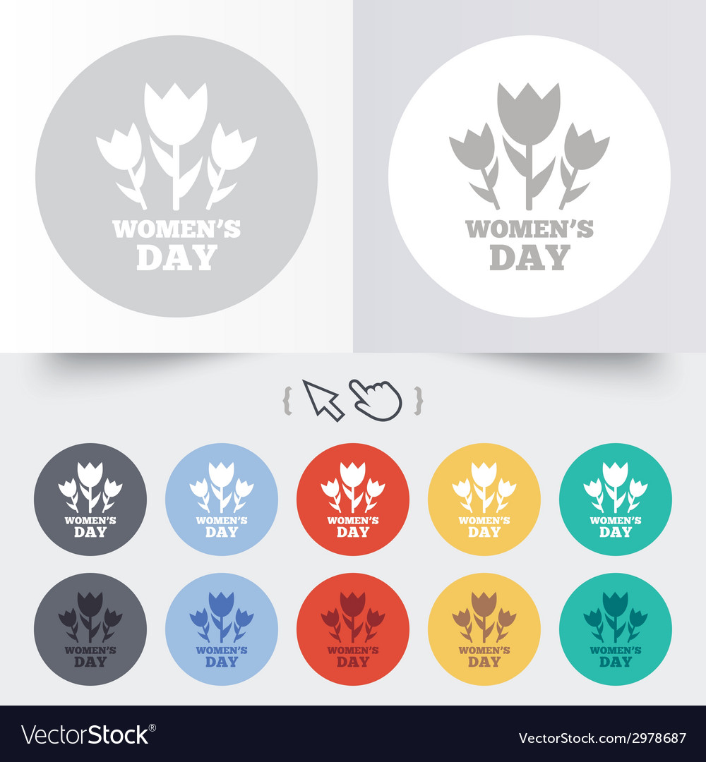 8 march womens day sign icon flowers symbol vector