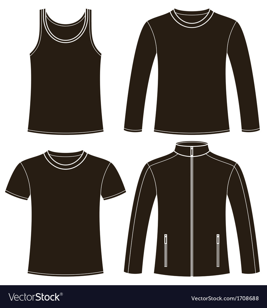 Singlet tshirt longsleeved tshirt and jacket vector