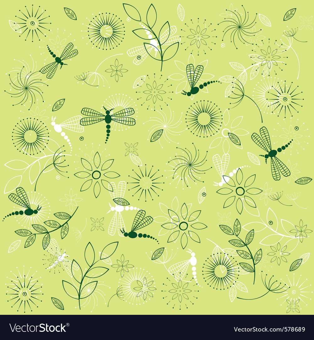 Dragonflies and flowers vector