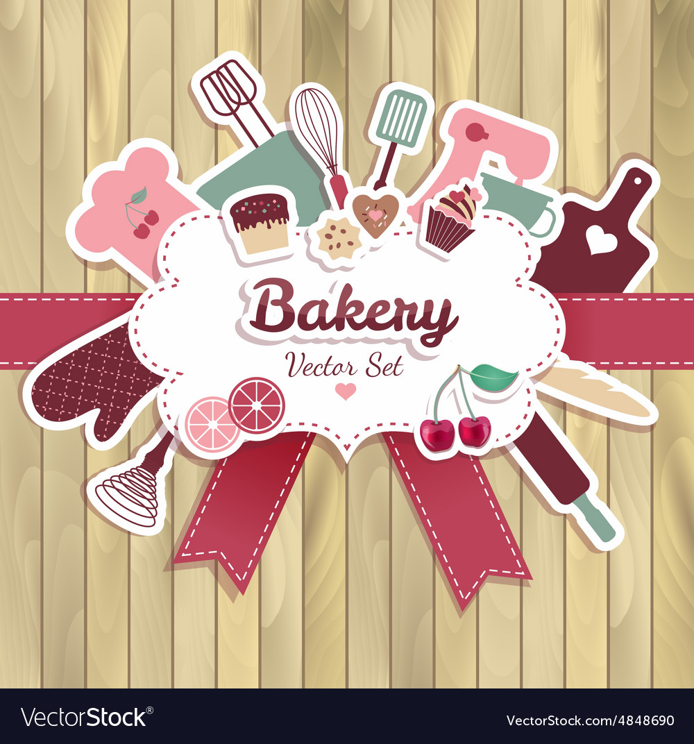 Bakery and sweet abstract on wood vector