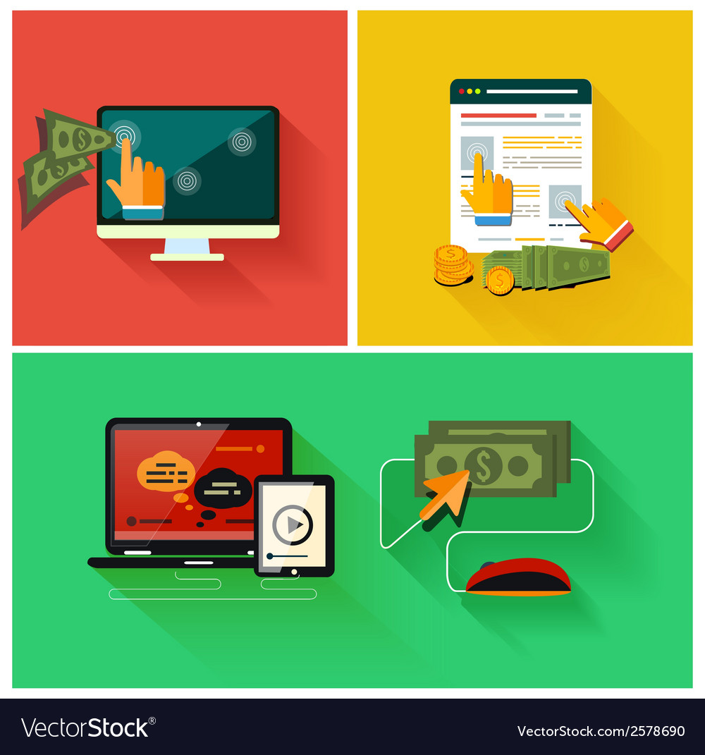 Pay per click internet advertising model vector