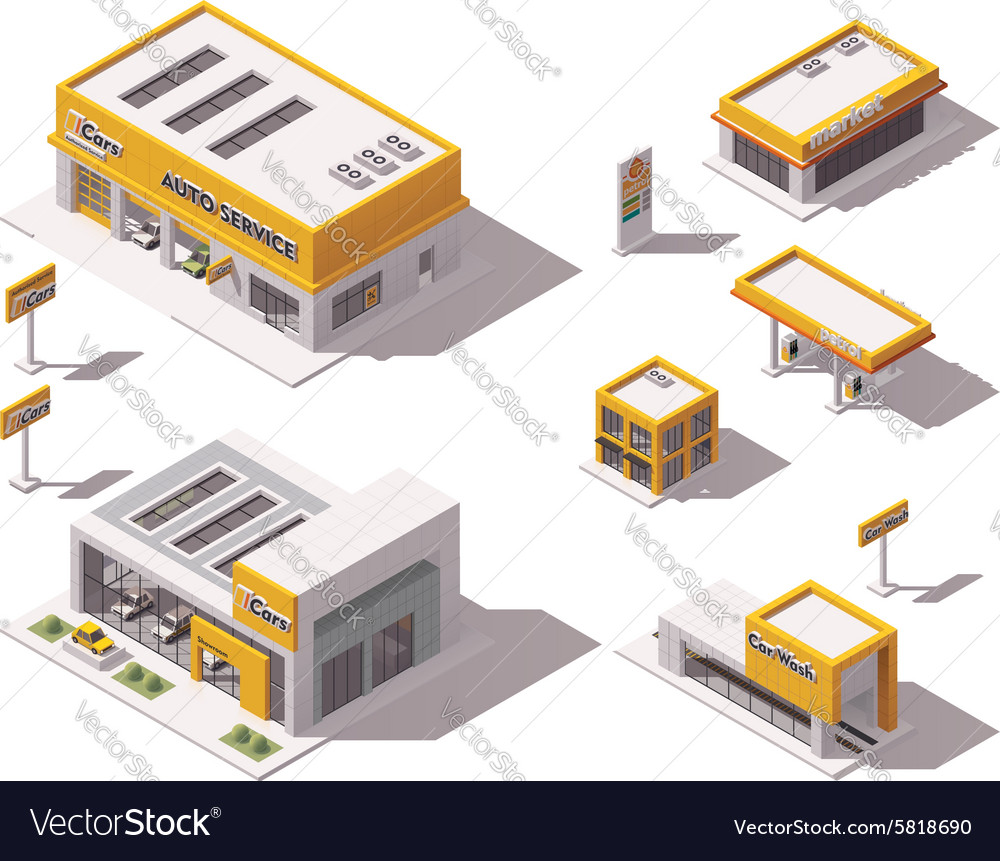 Road transport related buildings vector