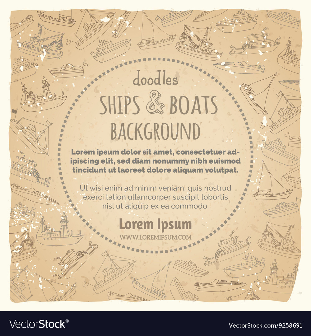 Vintage marine vessels background vector